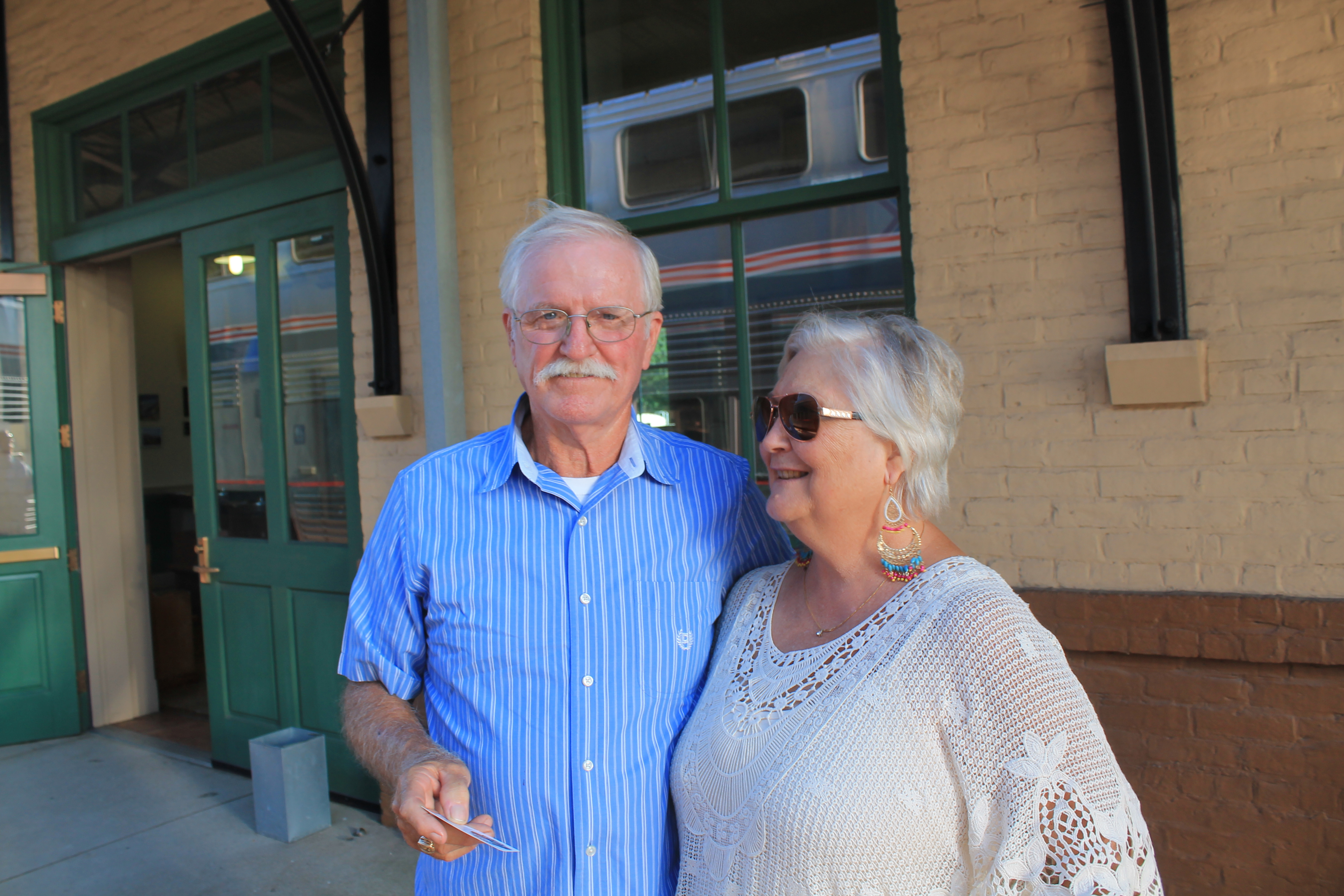 Doug and Carolyn Franklin at the Amtrak Depot in Mineola,TX.